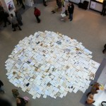 A circle of books seen from above